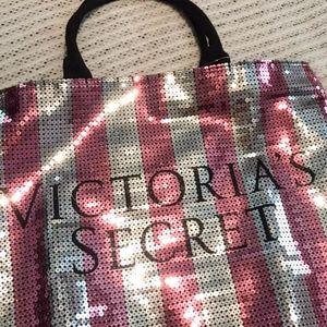 VS Pink & Silver Sequin Bling Logo Tote Bag